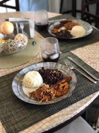 Criollo Venezuela Venezuelan Food Pabellon Boken Food And Drink Food Table Plate Freshness Indoors  Ready-to-eat Meal High Angle View