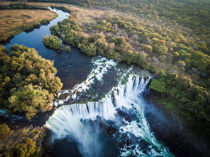 High Angle View Of Lumangwe Waterfall, Zambia