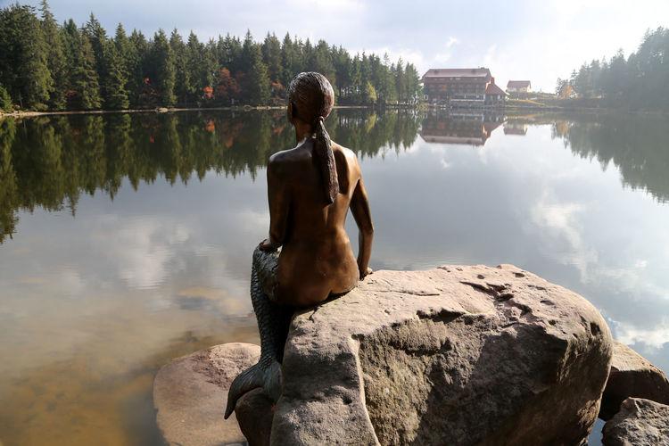 Seeumrundung Tourist Attraction  Schwarzwaldhochstrasse Schwarzwald Black Forest Germany Black Forest Mummelsee Mummelssee Legends Mermaids Mermaid Mermaid Statue