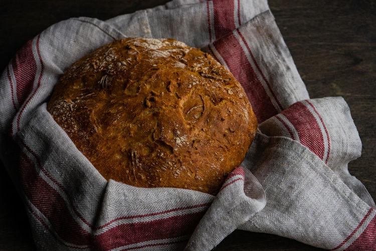 High angle view of baked food