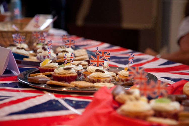 Close-up of cakes on table