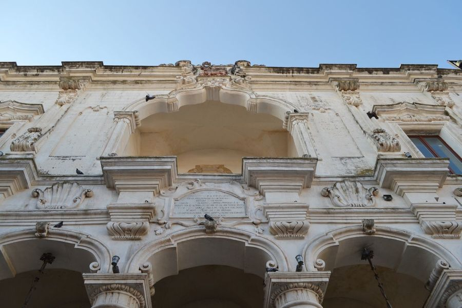 Arch Architectural Feature Architecture Architecture Architecturelovers Barocco Architecture Building Exterior Built Structure Capitello Day Exterior Façade High Section Historic History Low Angle View No People Outdoors Puglia Salento Puglia Sculpture Sky Vista Dal Basso