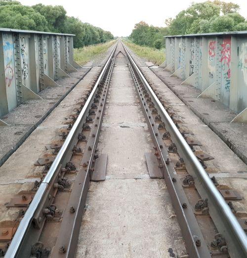 Railway rails Industry Road Path Graffiti Bridge Tree Railroad Track Rail Transportation Sky Railway Bridge