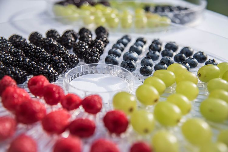 Close-up of fruits arranged in tray