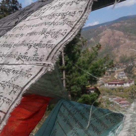 Bhutan Prayer Flags  Modern Urbnisation religion culture Shangrila Peace