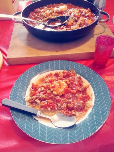 My son is becoming quite a chef! He made shakouka and couscous the other night!!!! LittleChef Shakshouka Couscous Close-up Yummy In My Tummy DeliciousFood  Ready-to-eat Omnomnom Al Attacke Comida Lets Eat! Good Food Good Mood