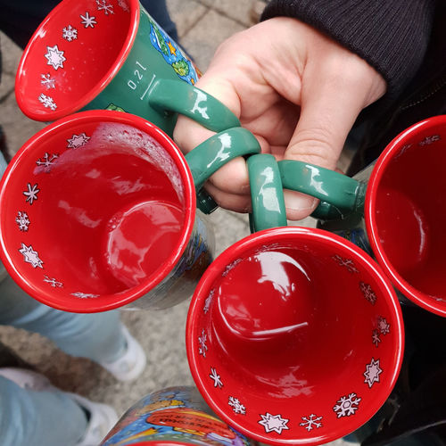Drinking Glühwein on the Christmas Market in Cologne Christmas Market Christmasmarket Weihnachtsmarkt Real People Leisure Activity Human Hand Hand Holding Human Body Part Human Finger Finger Body Part High Angle View Human Limb Adult Container Glühwein Mulled Wine Mug Tasse Cup Hot Drink Beaker Christmas Cologne