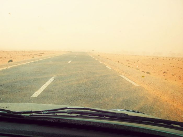Sandstorm on the road to Ouargla ( Algeria ) Natural Disaster