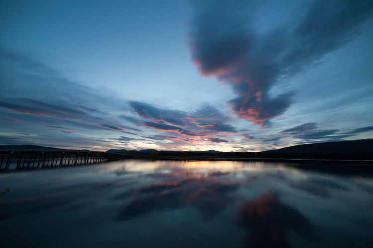 Sunrise in Tagish, Yukon, Canada No People Landscape Cloud - Sky Tranquil Scene Outdoors Tranquility Beauty In Nature Sunrise Canada Yukon Yukon Territory Bridge Blue Clouds Water