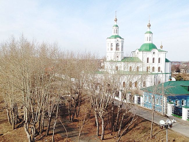 Architecture Built Structure Building Exterior Tyumen' Tyumen Tmn природа тюмень Tyumendays Religion Spirituality Church Bare Tree Sky Travel Destinations Day Outdoors Tourism Town In Front Of Canal Cloud - Sky Steeple No People Footpath