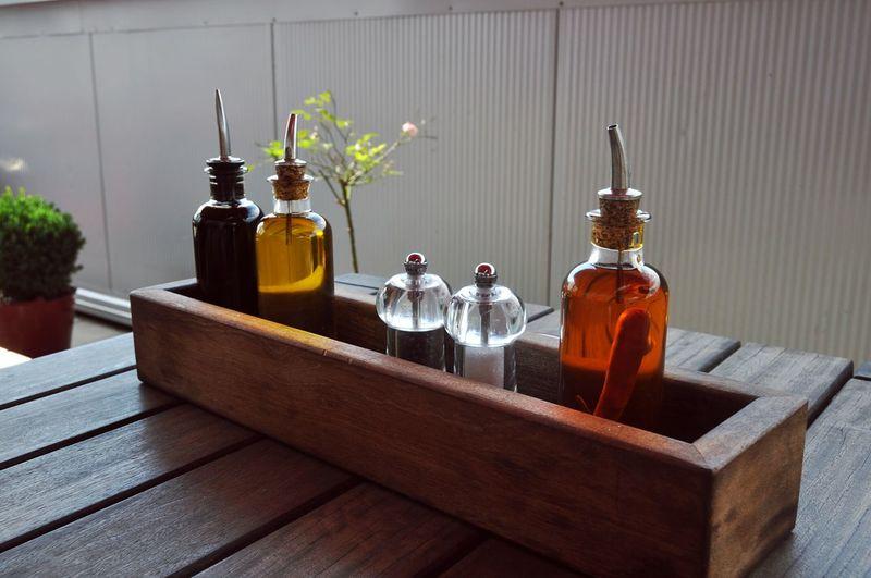 Massage oil bottles on table