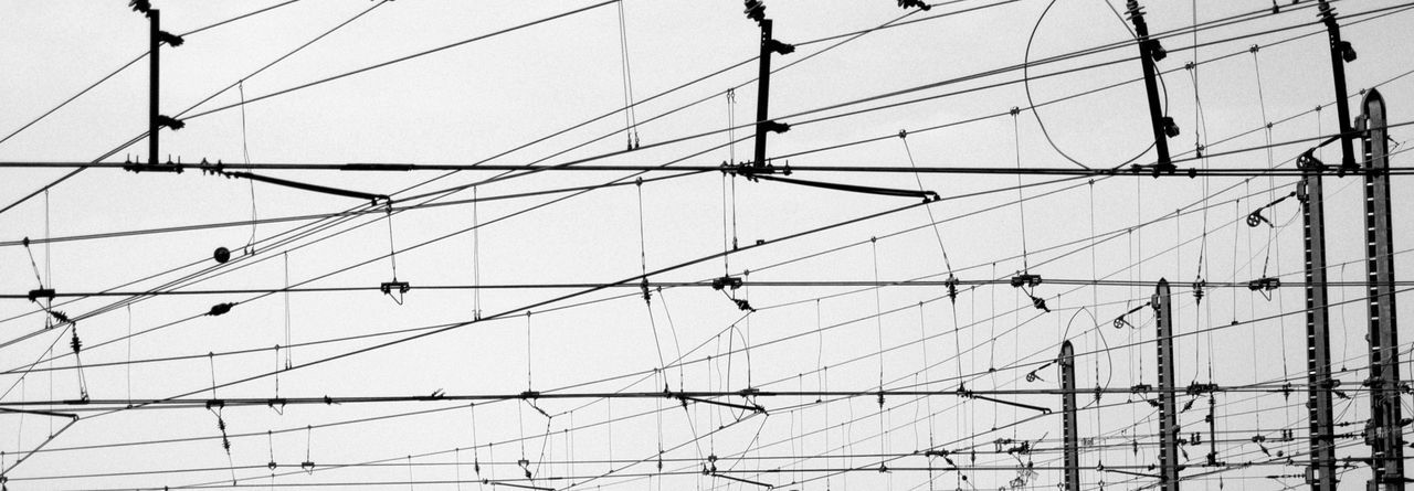 Black & White Musical Store? Understands Who Can Cable Clear Sky Complexity Day Electricity  No People Outdoors Power Line  Sky Technology Train - Vehicle