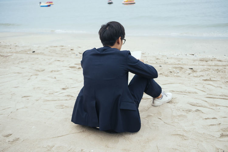 Rear view of a man on beach