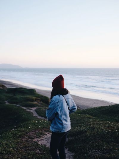 Portrait San Francisco West Coast California Sea Sky Water Rear View Land Real People Horizon Over Water Scenics - Nature Beauty In Nature Beach Horizon One Person Casual Clothing Lifestyles Nature Standing Clear Sky Looking At View Outdoors