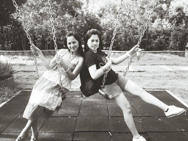 Sisters Sibling Love Swing Black & White