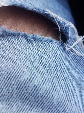 Loch in der Hose Blue Backgrounds Full Frame Textile Textured  Close-up