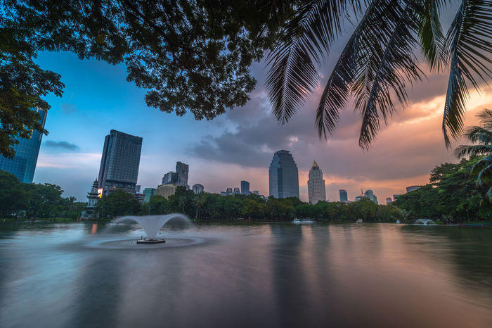 Soft focus Sunset and raincloud, view of downtown at Lumphini Park in Bangkok, Thailand Architecture Building Building Exterior Built Structure Capital Cities  City Cityscape Cloud Cloud - Sky Financial District  Growth Illuminated Lumphini Park Modern Office Building Outdoors Sky Skyline Skyscraper Tall Tall - High Travel Destinations Tree Urban Skyline Water