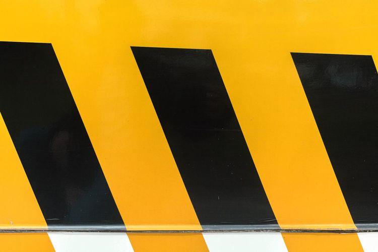 Close-up of hazard sign