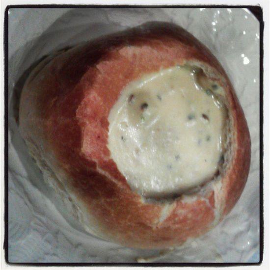 Chowder in a bread bowl!(; lol Yummmmm