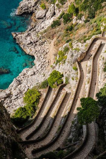 High Angle View Of Via Krupp In Capri