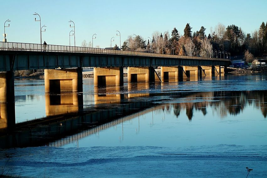Water Bridge - Man Made Structure Reflection Waterfront River Clear Sky Outdoors Day Norge🇳🇴 Norway🇳🇴 Årnes Winter Frozen Cold Temperature Landscape Pretty Nature EyeEmNewHere Adapted To The City Lost In The Landscape
