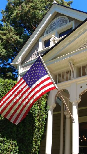 Home Marshall House Stars And Stripes Tree Patriotism Flag Cultures Architectural Column Striped Close-up Architecture Built Structure National Icon Flag Pole Porch