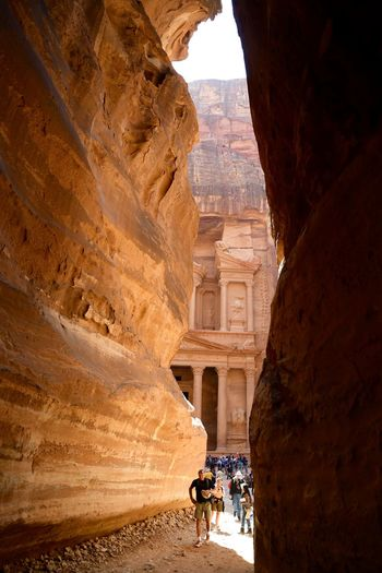 Jordan Petra Adult Ancient Ancient Civilization Architecture Building Exterior Built Structure Day History Large Group Of People Leisure Activity Lifestyles Men Nature Outdoors People Real People Rock - Object Sky Tourism Travel Travel Destinations Treasury Vacations