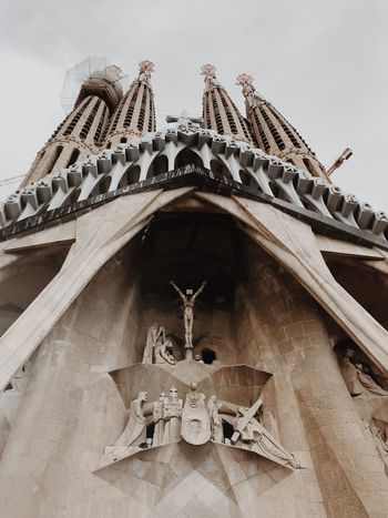 Barcelona Sagrada Familia Antoni Gaudí Built Structure Architecture Low Angle View Sky Spirituality Building Exterior Belief No People Place Of Worship Nature Religion Tourism Travel Destinations Building Day Outdoors Travel