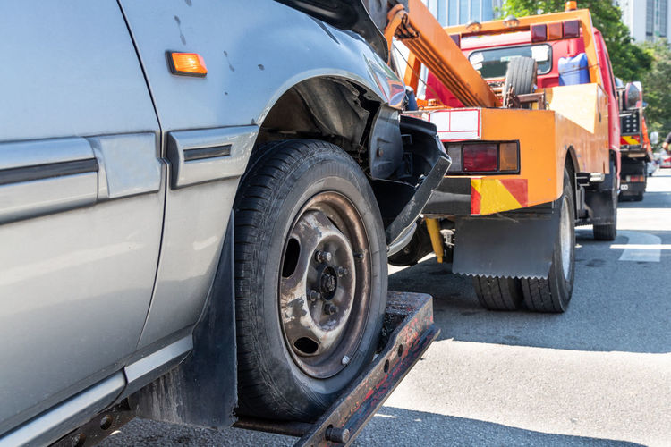 Accident Assistance Auto Broken Car Close-up Crash Damage Danger Disaster Distress Emergency Help Highway Problem Repair Rescue Road Roadside Safety Service Street Tow Towed Towing Traffic Trailer Transport Transportation Trouble Truck Vehicle