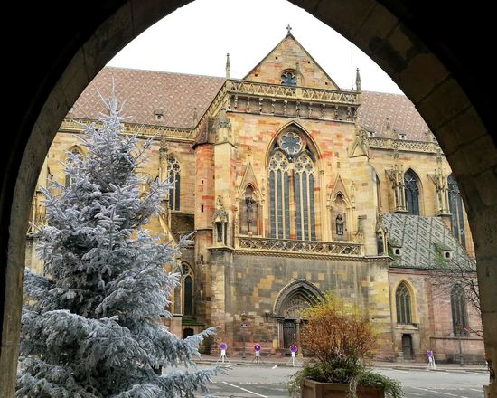 Peaking Through Church Architecture Christmas Tree Colmar, Alsace, France