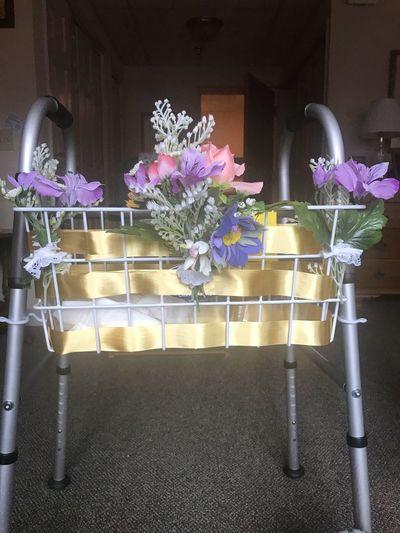 Flower Arrangement Decoration Flower Grandmother Nursing Home Nursing Home Visit Senior Senior Adult Spring Springtime Walker Walker Decoration