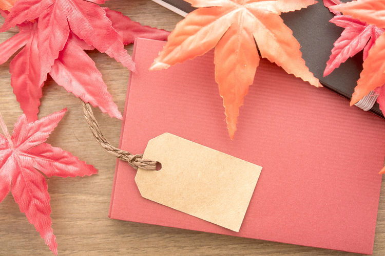 High Angle View Of Label With Envelope And Maple Leaves On Table