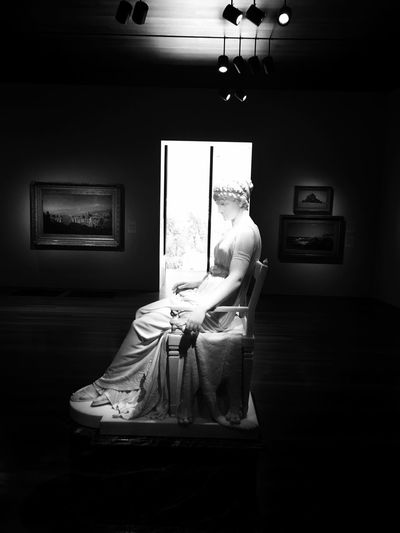 Museum Black And White Photography Museum Sculpture Art Indoors  Full Length Young Women