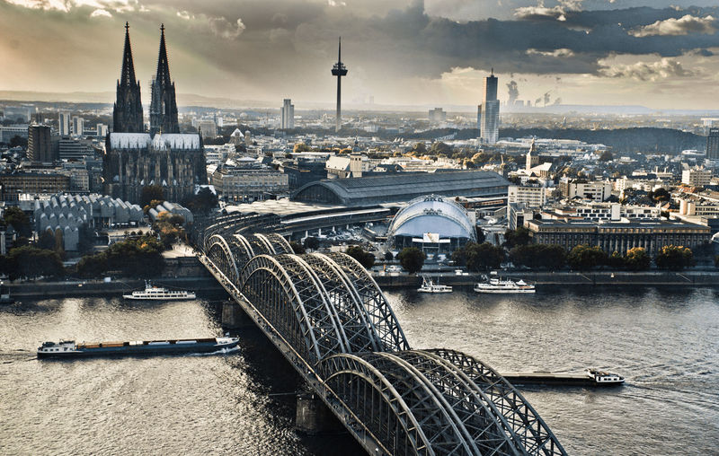 Architecture Bridge - Man Made Structure Building Exterior Built Structure City Cityscape Cloud - Sky Clouds And Sky Cultures Day Deutzer Brücke Kölner Dom Cathedral Nautical Vessel No People Outdoors Rhein River Ship, Boat, Lastkahn Sky Travel Travel Destinations Urban Skyline
