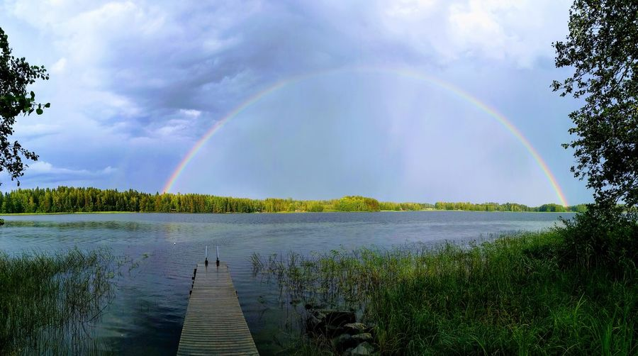 Scenic view of rainbow over lake against sky
