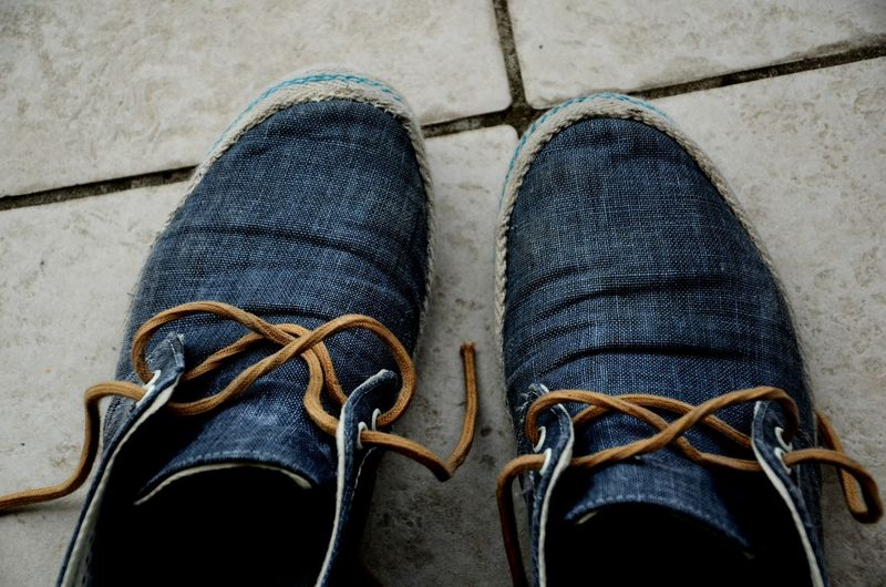 Shoe Footwear Personal Perspective Human Foot Blue Jeans Used