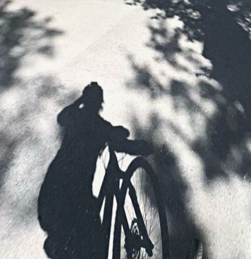 High angle view of man with bicycle on road
