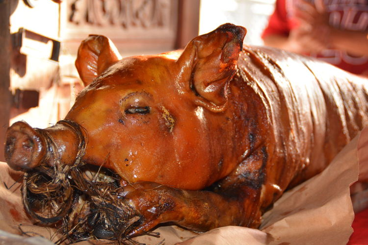 Close-up of roasted meat for sale