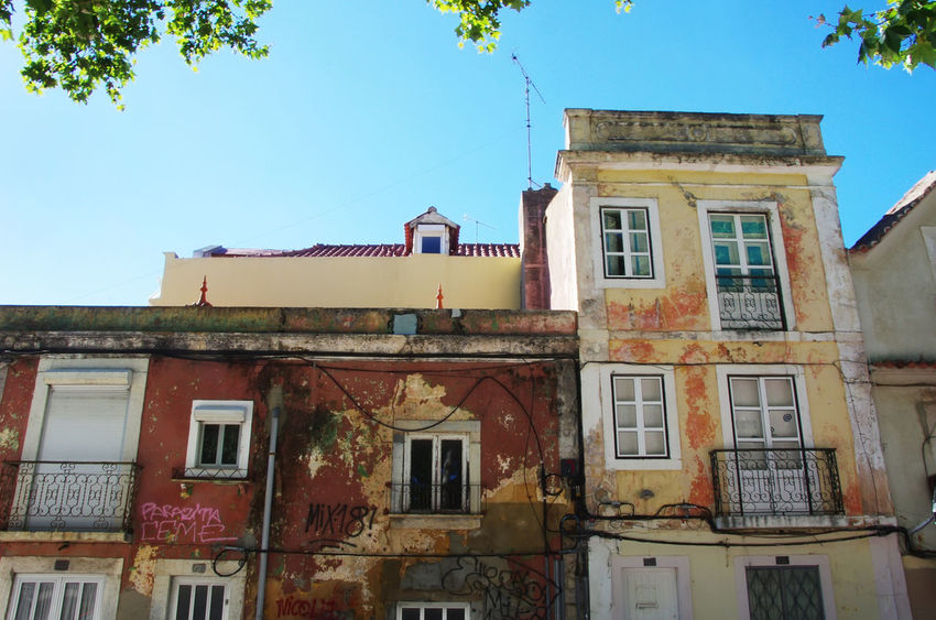 portuguese facades in Setubal city, Portugal Setubal City, Portugal Architecture Building Building Exterior Built Structure City Clear Sky House Portuguese Facades Residential District Sky Window