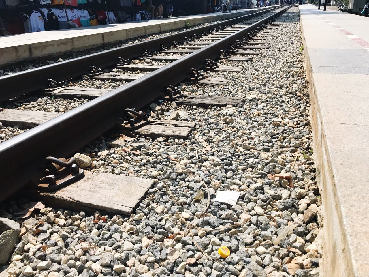 railroad track, rail transportation, railroad tie, transportation, day, metal, sunlight, outdoors, no people