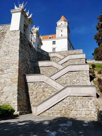 Bratislava Castle Zig-zag Staircase Castle City History Sunlight Sky Architecture Old Town TOWNSCAPE Tiled Roof  Place Of Interest