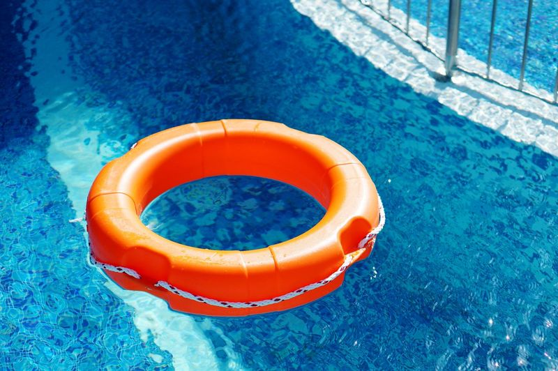 High angle view of inflatable ring in swimming pool