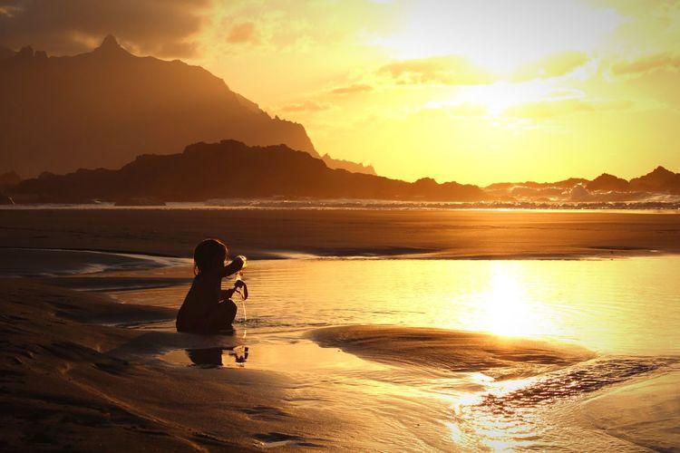 Tenerife Benijo Beach Benijo Child Girl Water Sunset Beauty In Nature Sky Beach Lifestyles Sunlight Sea
