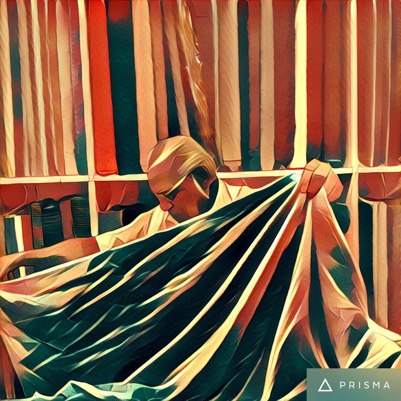 traditional clothing, indoors, multi colored, curtain, day, one person, people
