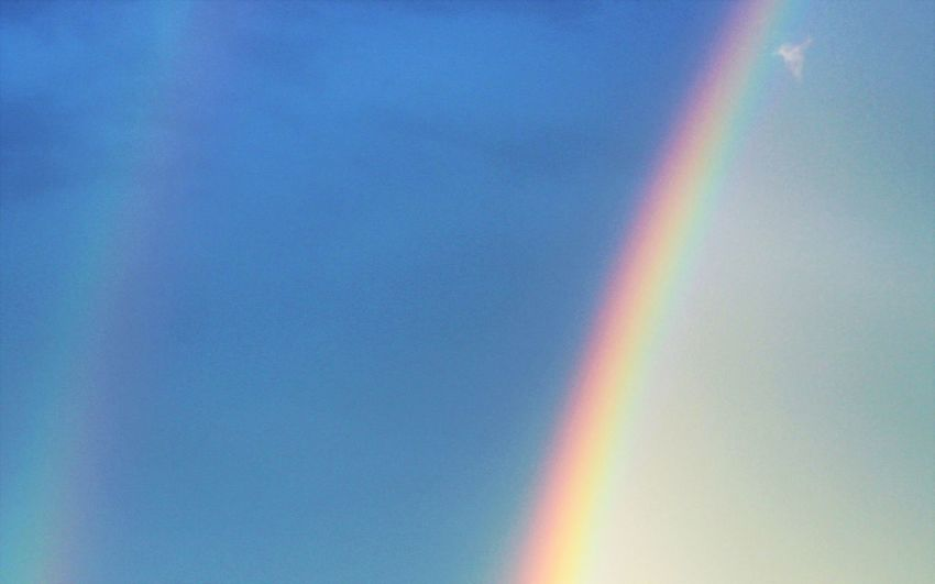 Backgrounds Beauty In Nature Blue Close-up Day Double Rainbows Horizontal Low Angle View Multi Colored Nature No People Outdoors Rainbow Rainbow Colors Rainbow Sky Refraction Sky Spectrum