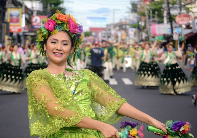 Magayon Philippines Beautiful Woman Emotion Focus On Foreground Front View Happiness Magayonfestival One Person Philippinefestia Philippinefestival Portrait Real People Smiling Traditional Clothing Waist Up Women Young Adult