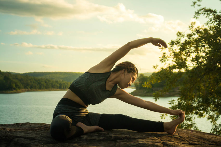Exercising Exercising (: Nature Yoga Close-up Exercising In Nature Lifestyles One Person Outdoors People Women