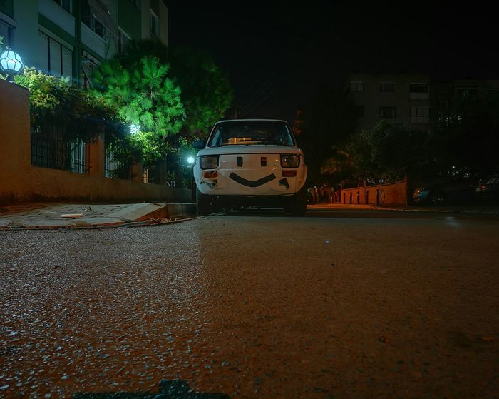 Transportation Car Night Illuminated Land Vehicle Mode Of Transport City Tree Outdoors No People Yellow Taxi Sky Fiat Fiat Bis Simle😉 And Simle 😊😊 Simle