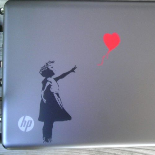 My new Vinyl on my laptop :) I'm happy. Imma order more soon ;) Girlwiththeredballoon Banky Cantwaittogetmore
