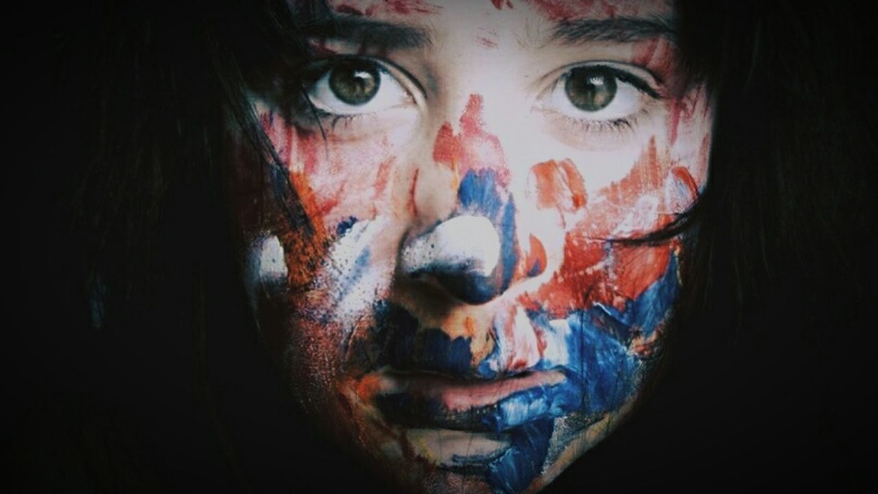 looking at camera, face paint, human face, portrait, horror, spooky, evil, halloween, one person, close-up, human body part, one woman only, indoors, adult, young adult, people, adults only